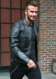 David Beckham Wears Belstaff Quilted Leather Biker Jacket in NYC