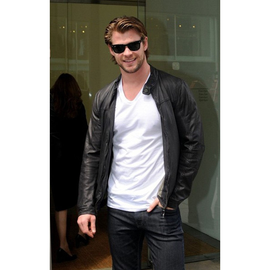 Australian Actor Chris Hemsworth Black Leather Jacket Inside Leather Jackets Actor Desain Jaket Kulit Keren Jakarta
